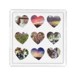 Personalized 9 Heart Shaped Photos Acrylic Tray
