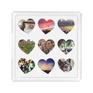 Personalized 9 Heart Shaped Photos Acrylic Tray