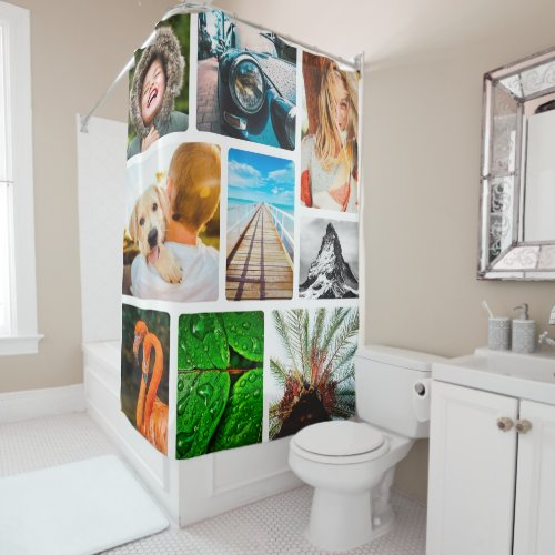 Personalized 9 Photo Collage Template Framed Shower Curtain