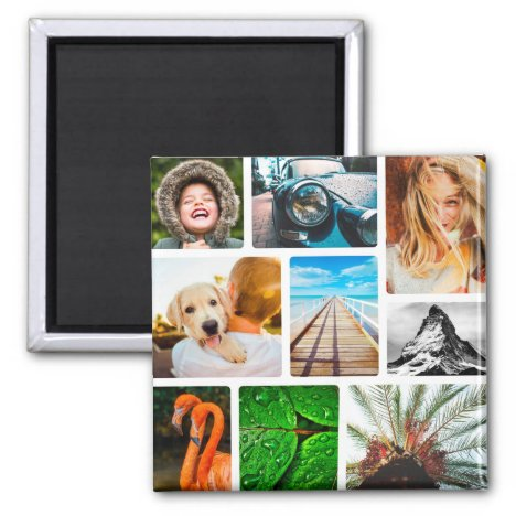 Personalized 9 Photo Collage Template Framed White Magnet