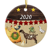 Personalized - A Country Christmas Nubian Goat Ceramic Ornament