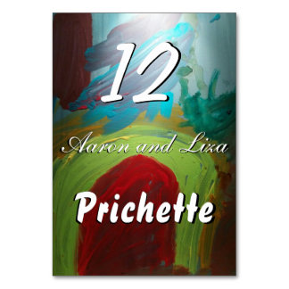Personalized Abstract Art Table Card Numbers