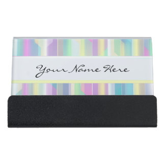 Personalized Abstract Beautiful Rainbow Pastels Desk Business Card Holder