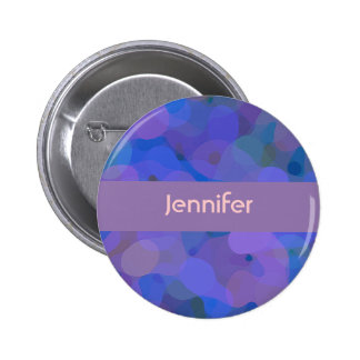 Personalized Abstract Blue Purple Pinback Button
