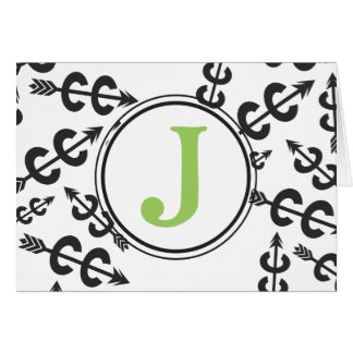 Personalized Abstract Cross Country Arrow Monogram Stationery Note Card