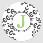 Personalized Abstract Cross Country Arrow Monogram Classic Round Sticker