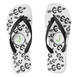 Personalized Abstract Cross Country Arrow Monogram Flip Flops