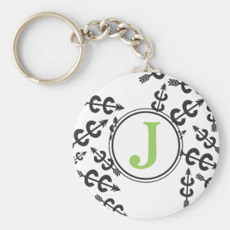 Personalized Abstract Cross Country Arrow Monogram Keychain