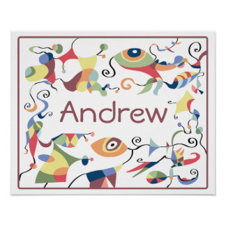 Personalized Abstract Poster for Child's Room