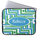 Personalized Abstract turquoise and green stripes Laptop Computer Sleeves