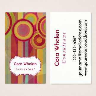 Personalized Abstract with Red, Greens, Yellows Business Card