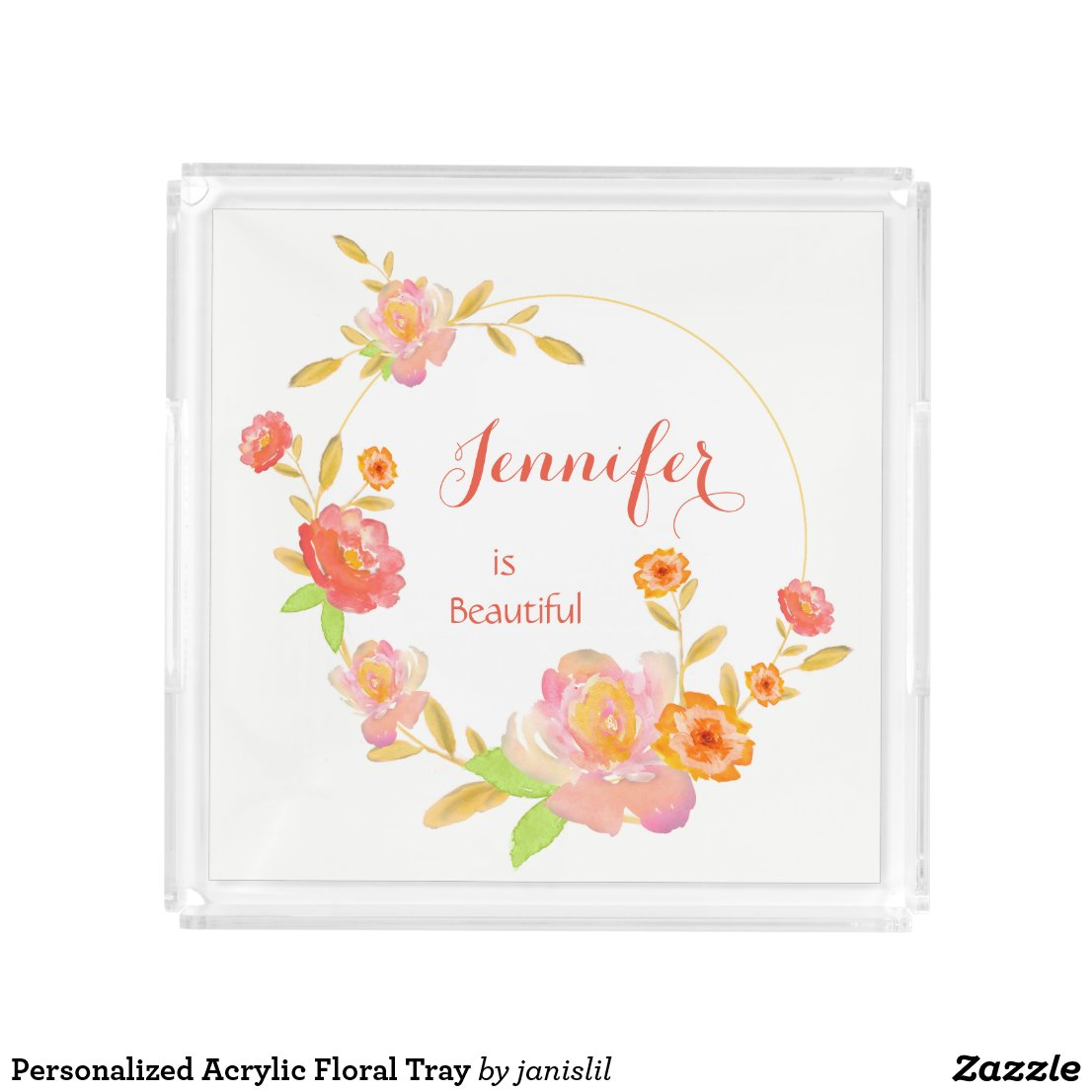 Personalized Acrylic Floral Tray