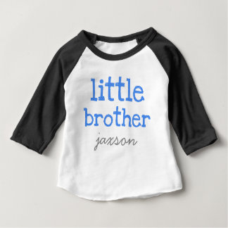 Personalized Add a Name Blue Text  Little Brother Tee Shirt