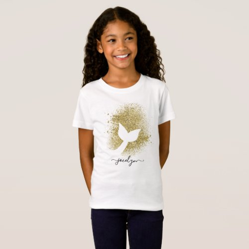 Personalized Add Name to Mermaid Tail Silhouette T_Shirt