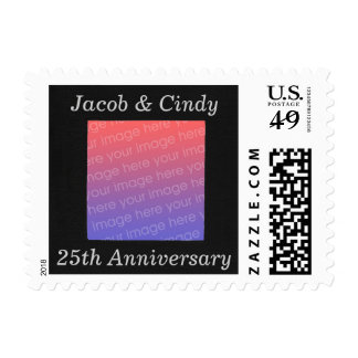 Personalized Add Photo 25th Anniversary Stamps