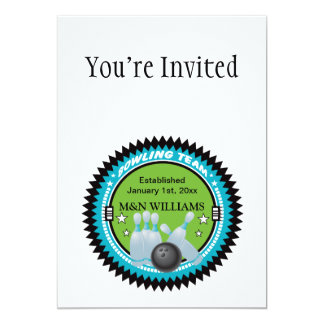 Personalized Add Your Name Bowling Team Logo 5x7 Paper Invitation Card