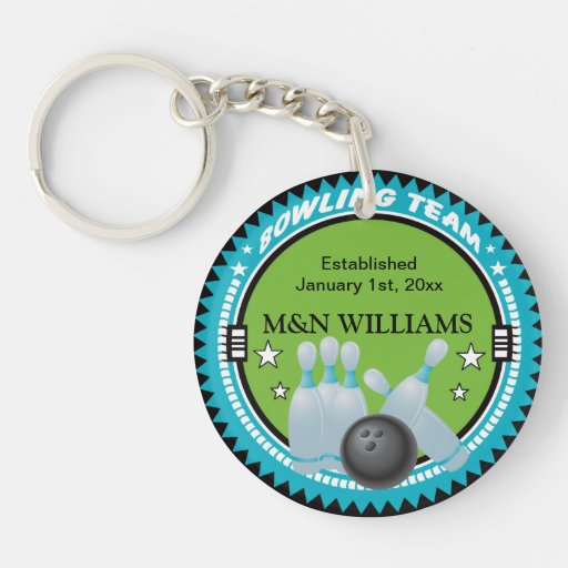 Personalized Add Your Name Bowling Team Logo Acrylic Key Chains