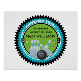 Personalized Add Your Name Bowling Team Logo Poster