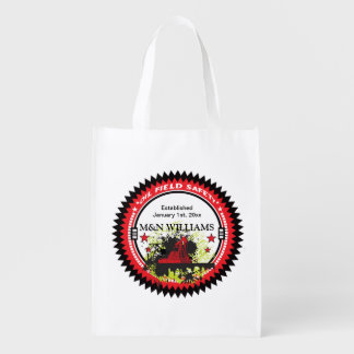 Personalized Add Your Name Oil Field Safety Logo Grocery Bags
