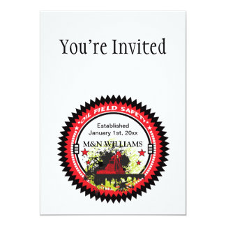 Personalized Add Your Name Oil Field Safety Logo 5x7 Paper Invitation Card