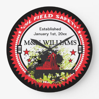 Personalized Add Your Name Oil Field Safety Logo Large Clock