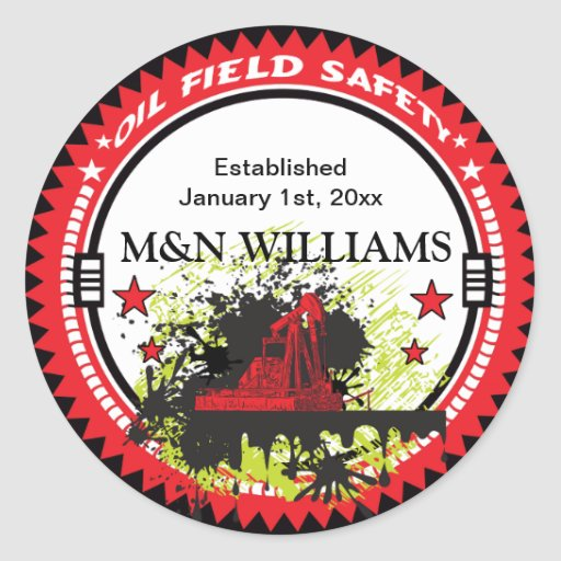 Personalized Add Your Name Oil Field Safety Logo Round Stickers