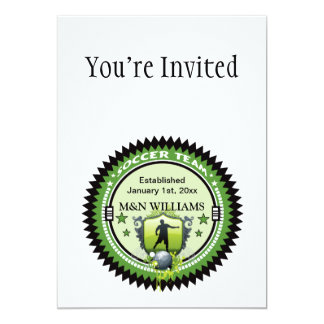 Personalized Add Your Name Soccer Team Logo 5x7 Paper Invitation Card