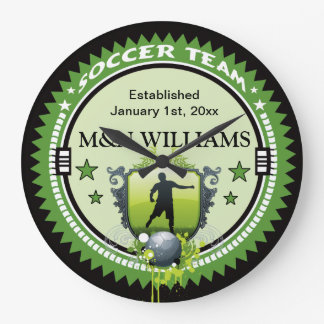 Personalized Add Your Name Soccer Team Logo Large Clock