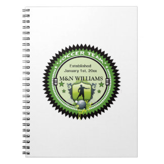 Personalized Add Your Name Soccer Team Logo Spiral Notebook