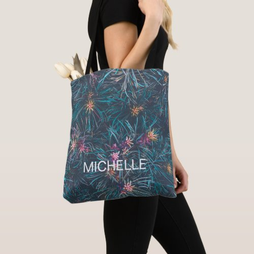 Personalized Add Your Own Name Floral  Tote Bag