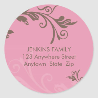 PERSONALIZED ADDRESS LABEL bold vine pink brown Stickers