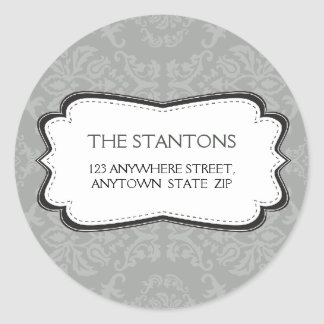 PERSONALIZED ADDRESS LABEL :: divinely damask 3B Classic Round Sticker