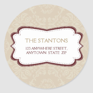 PERSONALIZED ADDRESS LABEL :: divinely damask 5B Classic Round Sticker