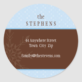 PERSONALIZED ADDRESS LABEL :: magical snowflake 3 Classic Round Sticker
