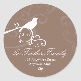 PERSONALIZED ADDRESS LABELS :: whimsicalbird 1 Classic Round Sticker