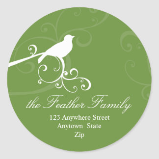 PERSONALIZED ADDRESS LABELS :: whimsicalbird 2 Round Stickers