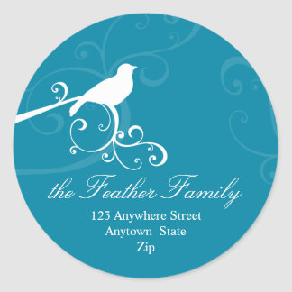PERSONALIZED ADDRESS LABELS :: whimsicalbird 3 Classic Round Sticker