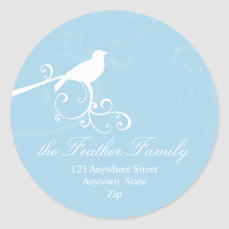 PERSONALIZED ADDRESS LABELS :: whimsicalbird 5 Classic Round Sticker