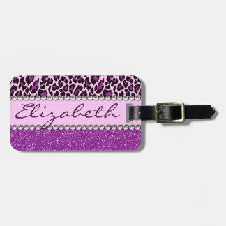 Personalized Address Purple Leopard Glitter Bag Tag