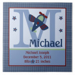 Personalized Adorable Airplane Birth Info Tile