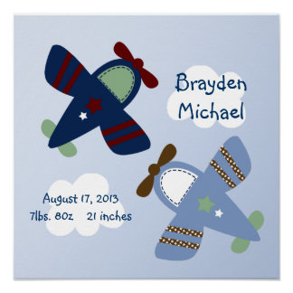 Personalized Adorable Airplanes Poster Wall Art