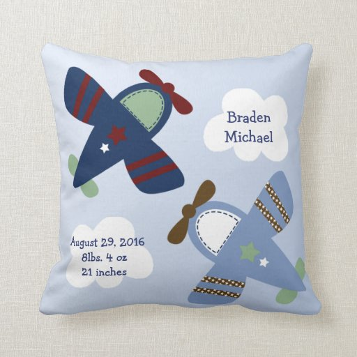 """Personalized """"Adorable Airplanes/Zoom Zoom"""" Pillow"""