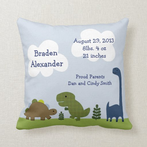 "Personalized ""Adorable Dinosaur/Dino"" Pillow"