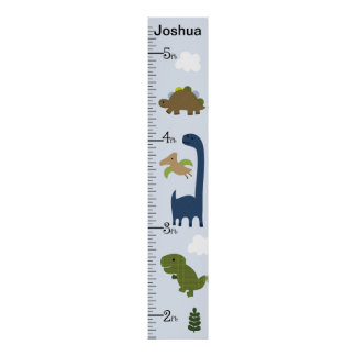 Personalized Adorable Dinosaur Growth Chart Poster