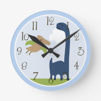 Personalized Adorable Dinosaur Kids Clock