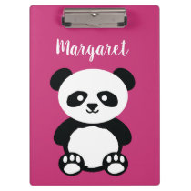 Personalized Adorable Panda Bear Girls Pink Kids Clipboard
