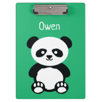 Personalized Adorable Panda Bear Green Kids Clipboard