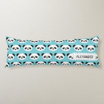 Personalized Adorable Panda Bear Pattern Blue Kids Body Pillow