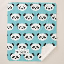 Personalized Adorable Panda Bear Pattern Blue Kids Sherpa Blanket