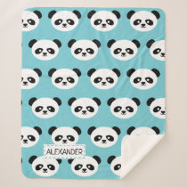 Personalized Adorable Panda Bear Pattern Blue Kids Sherpa Blanket